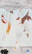 Collie Drawings Posters - Raining Cats and Dogs Poster by Michelle Miron