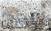 Cruikshank Art - Raining Cats And Dogs by Sheila Terry