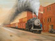 Trains Painting Prints - Raining Cinders Print by Christopher Jenkins