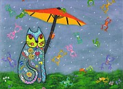Raining Paintings - Raining Frogs on Kittyboy by Marilyn Ferguson