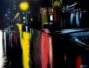 Raining Painting Originals - Raining Night in the City by Christopher Shellhammer