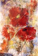Raining Mixed Media Posters - Raining Poppies Poster by Kathleen Pio