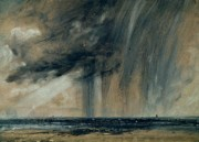 Overcast Prints - Rainstorm over the Sea Print by John Constable