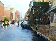 Rainy Street Painting Originals - Rainy Afternoon on Amsterdam Avenue by Peter Salwen