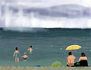Rainy Beach Print by Arline Wagner