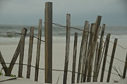 Beach Fence Photo Posters - Rainy Beach Day Poster by Maria Suhr