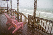 Raindrops Prints - Rainy Beach Evening Print by Betsy A Cutler East Coast Barrier Islands