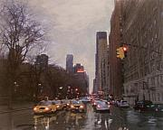 Nyc Taxi Framed Prints - Rainy City Street Framed Print by Anita Burgermeister