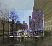 Urban Buildings Mixed Media Framed Prints - Rainy City Street layered Framed Print by Anita Burgermeister