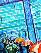 High Rise Paintings - Rainy City by Zbigniew Rusin