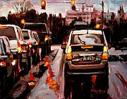 Rainy Street Paintings - Rainy Commute by Brian Simons