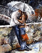Smiling Painting Prints - Rainy day - Love in the rain Print by Emerico Toth