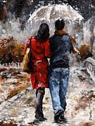 Smiling Painting Prints - Rainy day - Walking in the rain Print by Emerico Toth