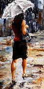 Rain Painting Metal Prints - Rainy day - Woman of New York 04 Metal Print by Emerico Imre Toth