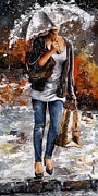 Autumn Water Prints - Rainy day - Woman of New York 06 Print by Emerico Imre Toth