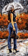 Jeans Posters - Rainy day - Woman of New York 14 Poster by Emerico Imre Toth