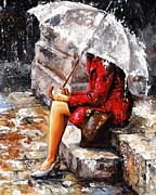 Female Framed Prints - Rainy day - Woman of New York Framed Print by Emerico Toth