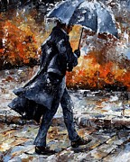 Rain Mixed Media Metal Prints - Rainy day/07 - Walking in the rain Metal Print by Emerico Toth