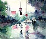 Cityscape Mixed Media Posters - Rainy Day Poster by Anil Nene