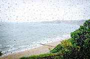 Raining Posters - RAINY DAY beach holiday vacation rain indoors window seaside Poster by Andy Smy