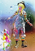Raining Mixed Media Prints - Rainy Day Clown 3 Print by Steve Ohlsen