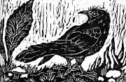 Lino Posters - Rainy Day Crow Poster by Ellen Miffitt