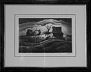 Original Lithographs Drawings - Rainy Day F.23 by Thomas Hart Benton