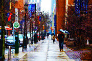 Street Photography Digital Art Acrylic Prints - Rainy Day Feeling Acrylic Print by Bill Cannon