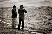 Bosphorus Prints - Rainy Day Fishing Print by Joan Carroll