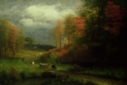 Autumn Woods Painting Prints - Rainy Day in Autumn Print by Albert Bierstadt