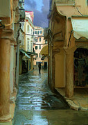 European Street Scene Art - Rainy Day In Corfu by Tom Griffithe