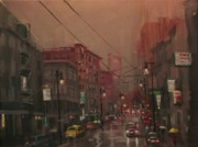 City At Night Paintings - Rainy Day in the City by Tom Shropshire