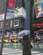 Central Park Painting Posters - Rainy Day in Times Square Poster by Patti Mollica