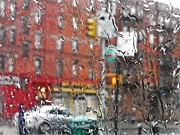 Traffic Light Prints - Rainy Day NYC 2 Print by Sarah Loft