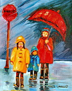 Quebec Paintings - Rainy Day Paintings Montreal City Scenes by Carole Spandau