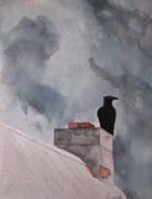 Storm Paintings - Rainy Day Raven by Amanda Burek