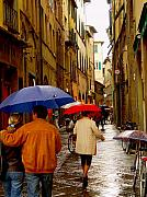 Umbrellas Digital Art - Rainy day Shopping in Italy by Nancy Bradley