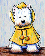 Raining Drawings Posters - Rainy Day Westie Poster by Kim Niles