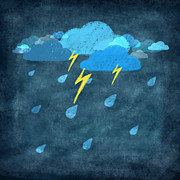 Sticky Note Prints - Rainy Day With Storm And Thunder Print by Setsiri Silapasuwanchai
