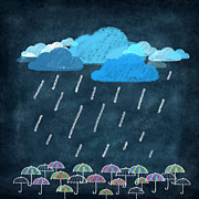 Recycled Posters - Rainy Day With Umbrella Poster by Setsiri Silapasuwanchai