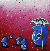 Raining Mixed Media Prints - Rainy Day Zombie Mushrooms Print by Jera Sky
