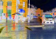 City Streets Mixed Media Prints - Rainy Days and Rainy Nights Print by Barbara McDevitt