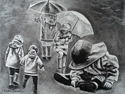 Storms Drawings - Rainy Daze by Carla Carson