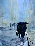 Raining Painting Originals - Rainy Evening Walk. by John Cox