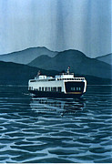 Scott Nelson Framed Prints - Rainy Ferry Framed Print by Scott Nelson