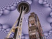 Seattle Digital Art Prints - Rainy Needle Print by Tim Allen