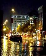 Green Bay Prints - Rainy Night in Green Bay Print by Lauren Radke