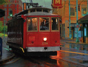 Tram Photo Posters - Rainy Night in MemphisTenn Poster by Don Wolf