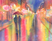Rainy Street Painting Framed Prints - Rainy Night in New Orleans Framed Print by Yevgenia Watts