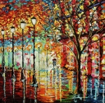 Oil Lamp Posters - Rainy Night Oil Painting - Confetti Rain Poster by Beata Sasik